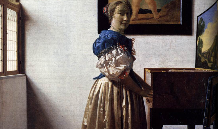 A Young Woman standing at a Virginal by Johannes Vermeer - National Gallery in London