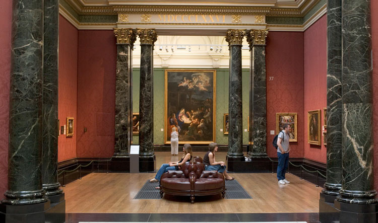 inside the National Gallery Museum in London